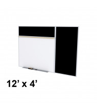 Ghent SPC412B-ATR 12 x 4 Rubber Tackboard & Porcelain Magnetic Combination Whiteboard (Shown in Black)