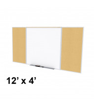 Ghent SPC412D-K Style-D 12 ft. x 4 ft. Natural Cork Tackboard and Porcelain Magnetic Combination Whiteboard