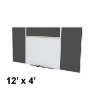 Ghent SPC412E-ATR Style-E 12 ft. x 4 ft. Recycled Rubber Tackboard and Porcelain Magnetic Combination Whiteboard (Shown in Black)