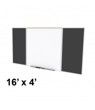 Ghent SPC416D-ATR Style-D 16 ft. x 4 ft. Recycled Rubber Tackboard and Porcelain Magnetic Combination Whiteboard (Shown in Black)