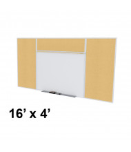 Ghent SPC416E-K Style-E 16 ft. x 4 ft. Natural Cork Tackboard and Porcelain Magnetic Combination Whiteboard