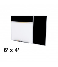 Ghent SPC46B-ATR 6 x 4 Rubber Tackboard & Porcelain Magnetic Combination Whiteboard (Shown in Black)