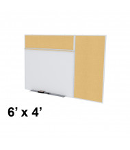 Ghent SPC46B-K Style-B 6 ft. x 4 ft. Natural Cork Tackboard and Porcelain Magnetic Combination Whiteboard