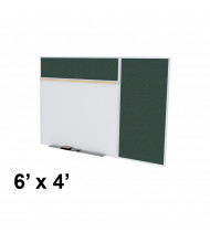 Ghent SPC46B-V 6 x 4 Vinyl Fabric Tackboard & Porcelain Magnetic Combination Whiteboard (Shown in Ebony)