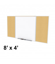 Ghent SPC48D-K Style-D 8 ft. x 4 ft. Natural Cork Tackboard and Porcelain Magnetic Combination Whiteboard