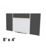 Ghent SPC48E-ATR Style-E 8 ft. x 4 ft. Recycled Rubber Tackboard and Porcelain Magnetic Combination Whiteboard (Shown in Black)