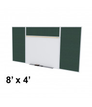 Ghent SPC48E-V Style-E 8 ft. x 4 ft. Vinyl Fabric Tackboard and Porcelain Magnetic Combination Whiteboard (Shown in Ebony)