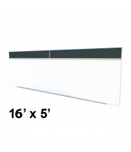 Ghent SPC516A-ATR 16 x 5 Rubber Tackboard & Porcelain Magnetic Combination Whiteboard (Shown in Black)