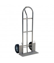 "Vestil SPHT Single ""P"" Handle 500-600 lb Load 13.75"" Nose Stainless Steel Hand Trucks (Shown with Pneumatic Wheels / 22"" W x 7.5"" D Nose Plate)"