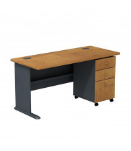 "Bush Series A SRA003 60"" W Straight Front Desk with Mobile Pedestal (Natural Cherry)"