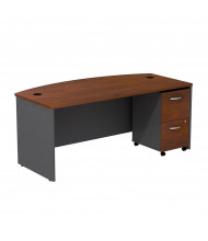 "Bush Series C SRC0020 72"" W Bow Front Office Desk with Mobile Pedestal (Hansen Cherry / Graphite Grey)"