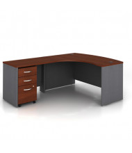 "Bush Series C SRC007 60"" W L-Shaped Bow Front Office Desk with Mobile Pedestal, Left Return (Hansen Cherry)"
