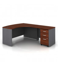 "Bush Series C SRC007 60"" W L-Shaped Bow Front Office Desk with Mobile Pedestal, Right Return (Hansen Cherry / Graphite Grey)"