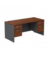 """Bush Series C SRC008 66"""" W Straight Front Office Desk with 3/4 Pedestals (Hansen Cherry / Graphite Grey)"""