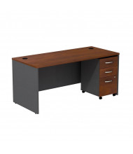 "Bush Series C SRC015 66"" W Straight Front Office Desk with Mobile Pedestal (Hansen Cherry / Graphite Grey)"