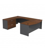 Bush Series C SRC019L U-Shaped Bow Front Office Desk with Lateral File, Left (Hansen Cherry / Graphite Grey)