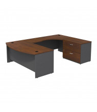 Bush Series C SRC019R U-Shaped Bow Front Office Desk with Lateral File, Right (Hansen Cherry / Graphite Grey)