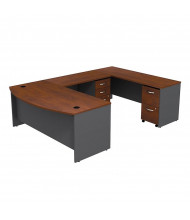 Bush Series C SRC043 U-Shaped Bow Front Office Desk with Mobile Pedestals (Hansen Cherry / Graphite Grey)