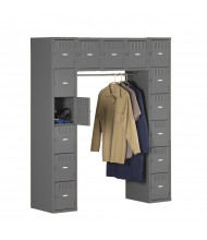 Tennsco 15-Person Steel Box Lockers (without legs) - Shown in Medium Grey