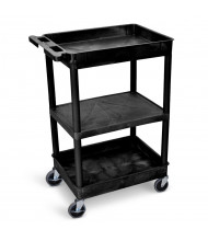 "Luxor 3-Shelf 18"" x 24"" Top/Bottom Tub, Flat Shelf Utility Cart 300 lb Load, (Shown in Black)"