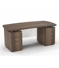 "Mayline Sterling STED72B 72"" W Bow Front Double Pedestal Office Desk (Shown in Brown)"