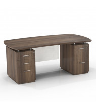 "Mayline Sterling STED72BF 72"" W Bow Front Double Pedestal Office Desk (Shown in Brown)"