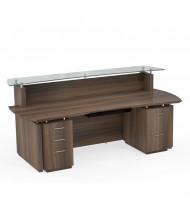 "Mayline Sterling STG30 96"" W Reception Desk with Pedestals (Shown in Brown)"