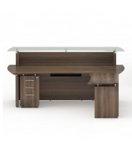 "Mayline Sterling STG31 96"" W Reception Desk with Pedestal, Cabinet (Shown in Brown Sugar)"