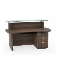 "Mayline Sterling STG33 72"" W Reception Desk with Pedestal (Shown in Brown)"