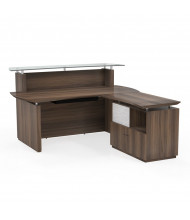 "Mayline Sterling STG34 72"" W Reception Desk with Lateral File (Shown in Brown Sugar)"