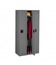 Tennsco Assembled Single Tier 3-Wide Metal Lockers without Legs (Shown in Medium Grey)