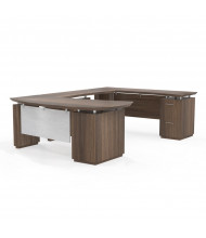 Mayline Sterling STL2 U-Shaped Bow Front Executive Office Desk, Right Return (Shown in Brown)