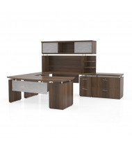 Mayline Sterling STL5 U-Shaped Executive Office Desk Set (Shown in Brown)