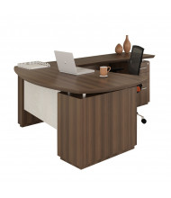 Mayline Sterling STL7 L-Shaped Executive Office Desk with Pedestals, Right Return (Shown in Brown)