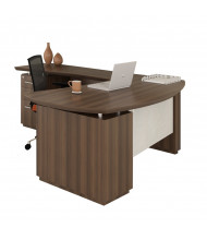 Mayline Sterling STL8 L-Shaped Executive Office Desk with Pedestals, Left Return (Shown in Brown)