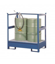 Vestil STP-2 Stackable Two Drum Spill Containment Pallet with Side Rails, 66 Gal, 1200 lb Load