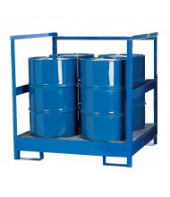 Vestil STP-4 Stackable Four Drum Spill Containment Pallet with Side Rails, 66 Gal, 2400 lb Load