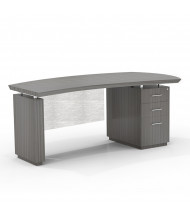 "Mayline Sterling STRD72B 72"" W Bow Front Pedestal Office Desk, Right (Shown in Grey)"