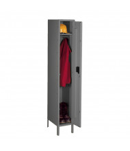 Tennsco Assembled Single Tier Steel Lockers with Legs - Shown in Medium Grey