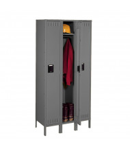 Tennsco Assembled Single Tier 3-Wide Steel Lockers with Legs - Shown in Medium Grey