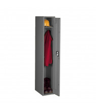Tennsco Assembled Single Tier Steel Lockers without Legs - Shown in Medium Grey