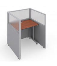 OFM RiZe 1-Unit Privacy Station Cubicles (Shown in grey vinyl with translucent windows and cherry tabletop)