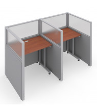 OFM RiZe 2-Unit Privacy Station Cubicles (Shown in grey vinyl with translucent windows and cherry tabletop)