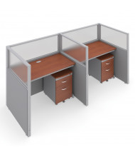 "OFM RiZe T1X2-4748 1x2 47"" H x 48"" W Privacy Station (Shown in Grey / Cherry, Translucent Window)"