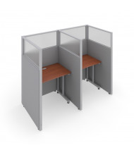 "OFM RiZe T1X2-6337 1x2 63"" H x 37"" W Privacy Station (Shown in Grey / Cherry, Translucent Window)"