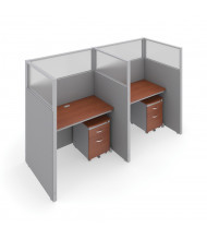 "OFM RiZe T1X2-6348 1x2 63"" H x 48"" W Privacy Station (Shown in Grey / Cherry, Translucent Window)"