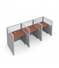 OFM RiZe 3-Unit Privacy Station Cubicles (Shown in grey vinyl with translucent windows and cherry tabletop)