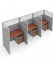 "OFM RiZe T1X3-6348 1x3 63"" H x 48"" W Privacy Station (Shown in Grey / Cherry, Translucent Window)"