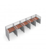 OFM RiZe 5-Unit Privacy Station Cubicles (Shown in grey vinyl with translucent windows and cherry tabletop)