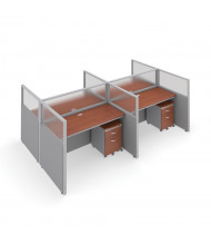 "OFM RiZe T2X2-4760 2x2 47"" H x 60"" W Privacy Station (Shown in Grey / Cherry, Translucent Window)"